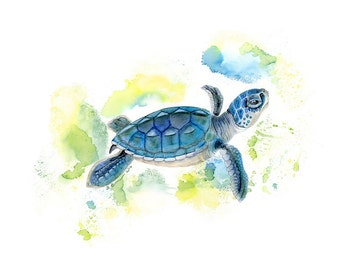 Sea Turtle Watercolor - Baby Sea Turtle - Art Print - Watercolor Print - Sea Turtle Art - Nautical Nursery - Boy Art - Green - Yellow - Blue