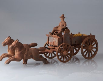 Horse and Wagon Cast Iron Vintage toy