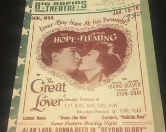 Original 1950 Movie Poster Theatre Herald The Great Lover, Hamlet, Holiday Inn, Bob Hope, Laurence Olivier, Fred Astaire, Bing Crosby