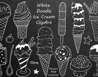White Doodle Ice Cream Clipart, Digital Ice Cream, Hand drawn Ice Cream, PNG, line art, For Personal and Commercial use
