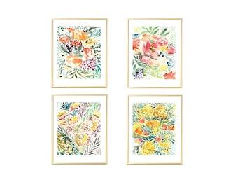 Set of 4 Floral Prints, Wall Art Set of 4,Wall Art Set,Floral Prints Set of 4,Wall Art,Printable Art,Floral Prints Download,Watercolor Art