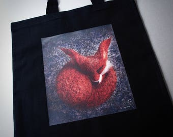 Sleeping fox tote bag by The Lady Moth - black shopping bag - wildlife bag with long handle  - UK