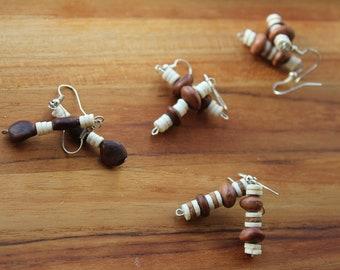 The Zebra - Ostrich Eggshell & Seed Earrings