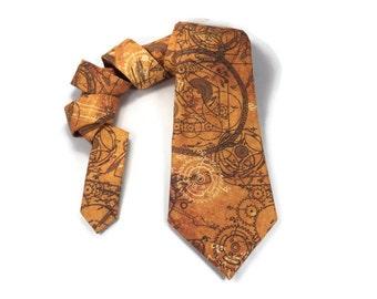 Clockwork tie, Steampunk tie, steampunk gears cogs, clockwork necktie, clock gears tie, steampunk accessory, tan, light brown