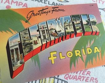 Vintage Clearwater Florida postcard large letter greetings 1940s  linen Floridiana souvenir kitsch