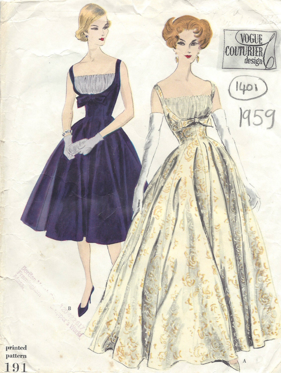 1959 Vintage VOGUE Sewing Pattern B32 DRESS (1405) Vogue 191 from ...