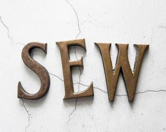 Vintage Brass Letters, Word SEW, Craft Supplies, Art Supplies, Home Decor
