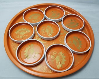Vintage 9 Piece Orange Hand Screened Leaf Beverage Set Made in Bronx NY by National Toleware