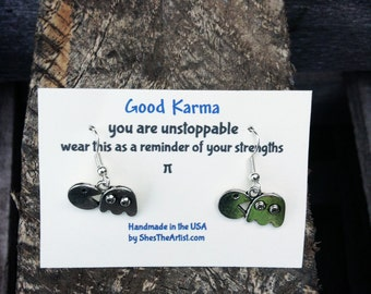 PAC-MAN Good Karma Earrings Good Karma Jewelry Quote Gift- Bridesmaids Gift - Friendship Jewelry - Bridal Party Gift GKJ8
