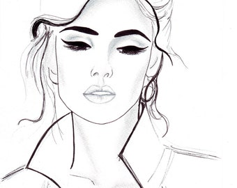 Digital Download - Pen and Pencil fashion illustration Titled All That