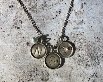 Silver & Gem Initial Necklace