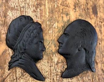 Set of Beeswax Martha and George Washington Silouettes