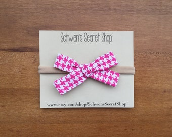 Fabric baby bow, baby girl headband, hand tied bow, baby headband, nylon headband, school girl bow, baby hair bow, pink baby bow, infant bow