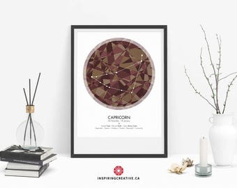 CAPRICORN Zodiac Constellation Poster - Abstract Modern Art Gallery Quality Giclée Print- Astrology and Horoscopes art print- Birthday gift