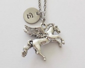 Pegasus Necklace, Horse, Greek Stallion, BFF, Friend Gift, Birthday Gift, Silver Initial, Personalized, Monogram, Hand Stamped Letter