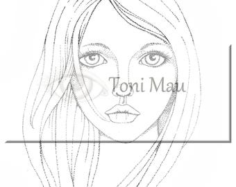 Ayla – Digital Download Coloring Page, Adult Coloring, Relaxing, Digi Stamp, Printable,
