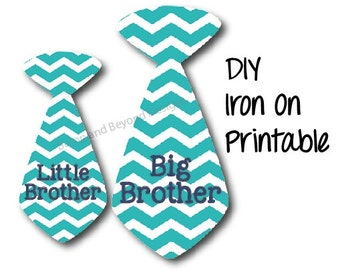 Big Brother Little Brother Ties set of 2 Printable Boys Tie Shirt Decals Digital Iron On INSTANT DOWNLOAD Toddler Baby Toddler Shirt 003