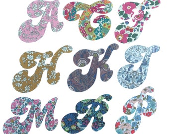 Liberty Print Applique 15cm Retro Style Iron On Letters/ Applique Letters for Personalising/ Applique Initials/ Liberty Print Letters