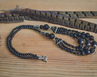 Bohemian black agate necklace, tiered vintage elegant necklace, witch ethnic jewelry,Ats tribal, boho gift for here, Wiccan jewelry