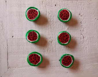 Watermelon magnets, polymer clay watermelon magnet, hand sculpted
