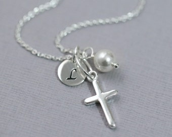 Confirmation Gift, Personalized Cross Necklace, Sterling Silver Cross Necklace, Tiny Cross Necklace, Baptism Gift, First Communion Gift