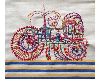 Hand Embroidered Art Piece, Fantasy Vehicle