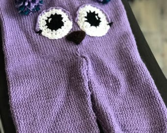 Adorable Hand Knit Owl Pants Drawstring size 12-24 months Child Seconds quality