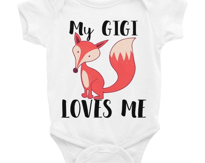 Fox, My Gigi Loves Me Baby Onesie | Gift for Granddaughter Infant Bodysuit | Gigi,granddaughter,grandma, Grandparents Gift idea for babies