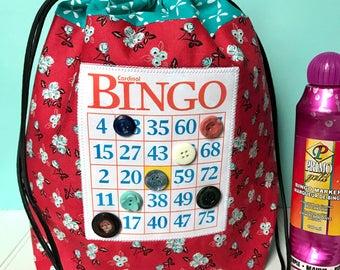 Bingo Bag - Red Floral Drawstring Bag - Knitting Project Bag - Mother's Day Gift - Bingo Gift - Bingo Dauber Bag - Makeup Bag - Wristlet