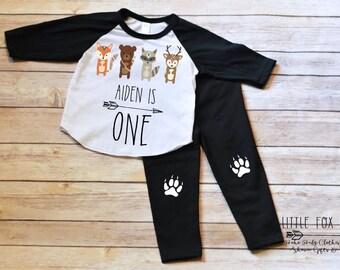 First Birthday Outfit Boy, First Birthday Shirt Boy, Woodland Creatures