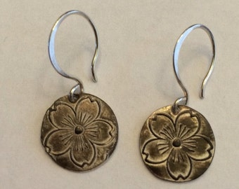 Handmade Silver Sakura Earrings Cherry Blossom on Hand Formed Calligraphy Wires - Ready to ship quick gift