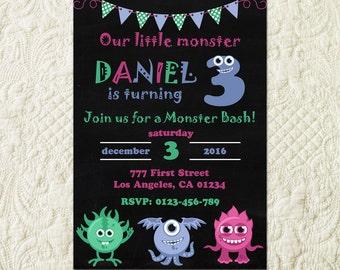 Monster Birthday Invitation, Little Monster Invitation, Monster Birthday Party Invite, Monster Chalkboard Invitation, Monster Bash Invite