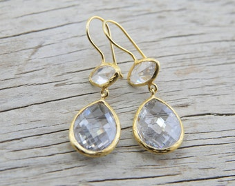 Crystal Quartz Jewelry Earrings Cut  Faceted Drop Quartz Stones 22K Gold Plated Sterling Silver Earrings