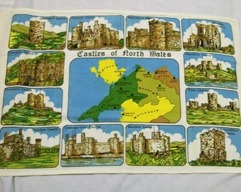Souvenir Tea Towel, Vintage Tea Towel, Castles of North Wales, Map of North Wales, Sewing Supplies
