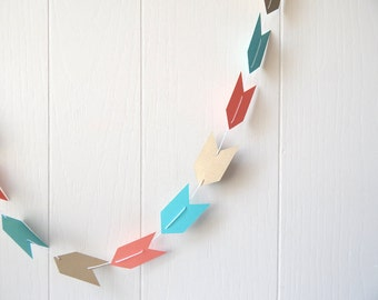 Arrow Garland in Bright Blue, Coral and Gold Leaf 10 ft