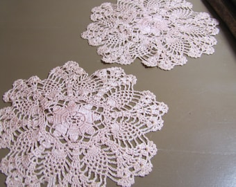 Two (2) Vintage Crocheted Doilies - Ballet Pink