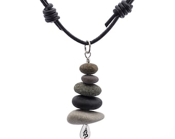 Silver Beach Stone Stack Cairn One-of-a-kind Necklace