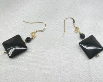 14kt Gold Onyx Earrings Christmas Gift For Girlfriend Gift For Wife 14k Black Onyx Earrings Dangle Earrings Gift For Her BuyAny3+Get1 Free