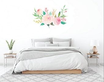 Floral Bouquet Vinyl Wall Decal, Flower Wall Decal, Pale Pink Flower Wall decal, Girl Nursery Decor, Pink Flower Decal, Teen Room Decor