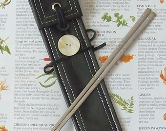 Eco-Friendly Personal Chopstick Cases in Black Leather, MOP Shell Button, Picnic, Festival & Packing Gear, Needle Case, Travel Cutlery