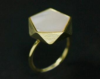 Polígono Anéis para as Mulheres Handmade 925 Prata Esterlina Jóias Anel Ajustável