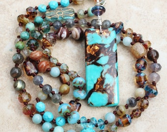 Boho Copper, Turquoise, Hand Knotted Gemstone Beaded Necklace, Czech Crystal Necklace, Jewelry by Inarajewels