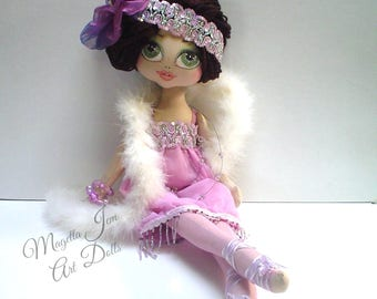GATSBY doll roaring twenties style art doll, kei cloth doll,  handmade doll, original  ooak, heirloom dolls, flapper,  SHIRLEY McTAVISH
