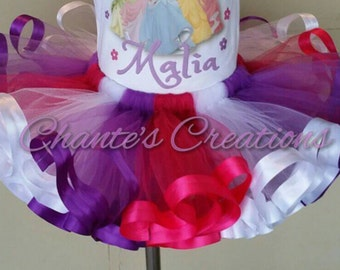Hot pink, purple and white ribbon trimmed tutu ONLY