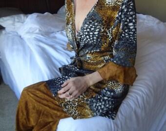 Ladies Sleep Ensemble - Long Sari Silk Wrap Top With Matching Loose Fit Bottoms - Safari H773
