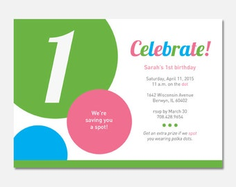 Polka Dot Birthday Party Invitation, Polka Dot Party, Polka Dot Birthday, Custom Invitation, Printable Invitation, Flying Pinwheel