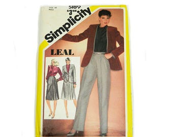 Uncut Sewing Pattern Simplicity 5189 Misses' Jacket Skirt Blouse Pants 1981