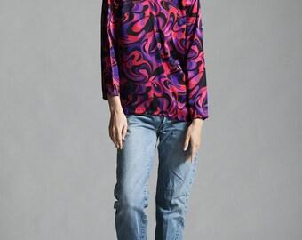 silk blouse top pink purple swirl print long sleeves flowy vintage 80s SMALL S