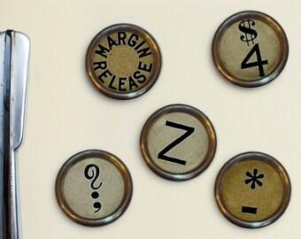 Vintage Typewriter Key Magnets - Retro Type Magnets, Vintage Typewriter, 1950's, 1960's, Type Keys, Mid-Century Modern, Old Typewriter Keys