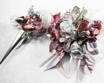 Plum, Gray Orchid Rhinestone Bracelet Wrist Corsage and Silver Magnetic Boutonniere Prom or Homecoming Set